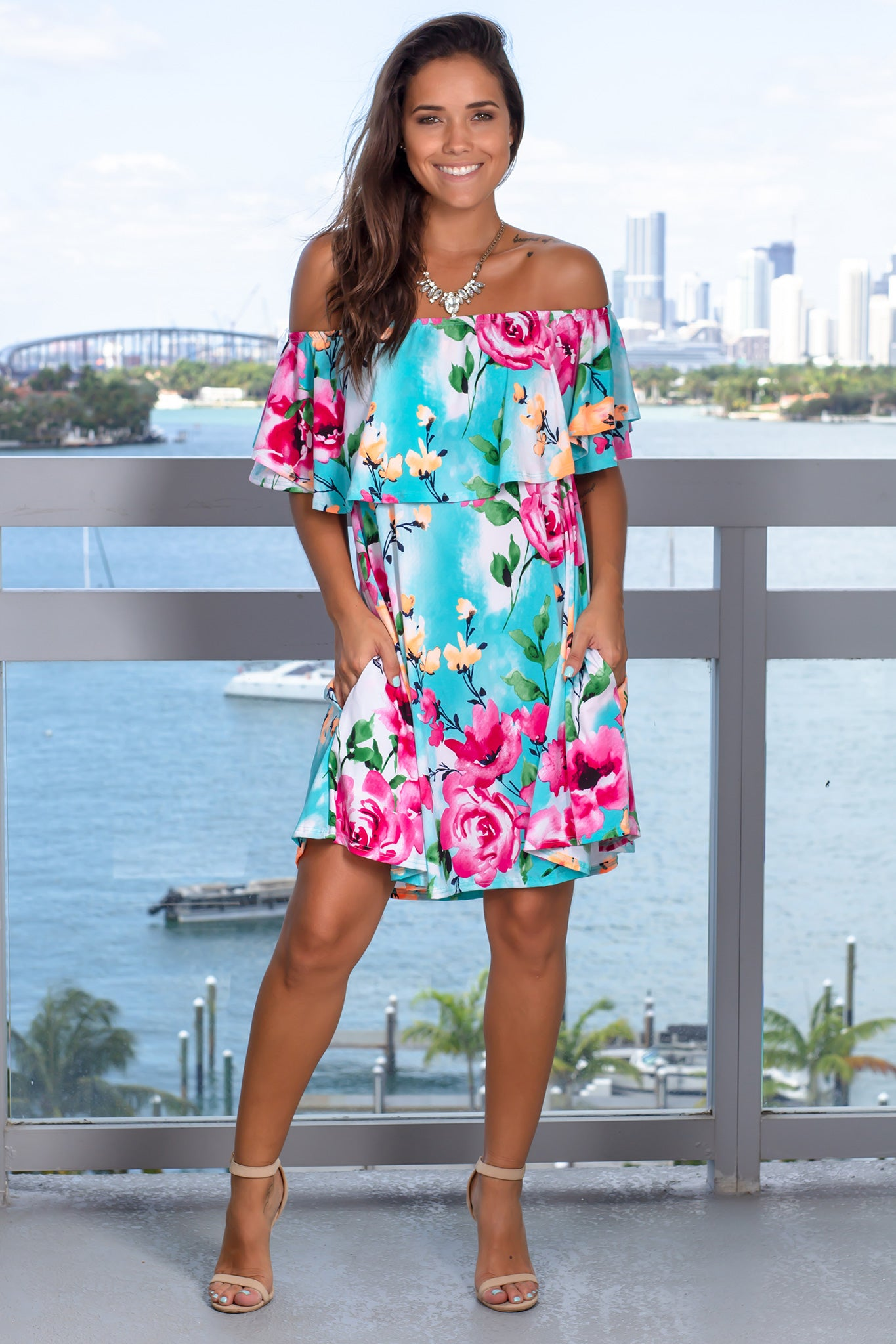 Mint Floral Off Shoulder Short Dress with Pockets