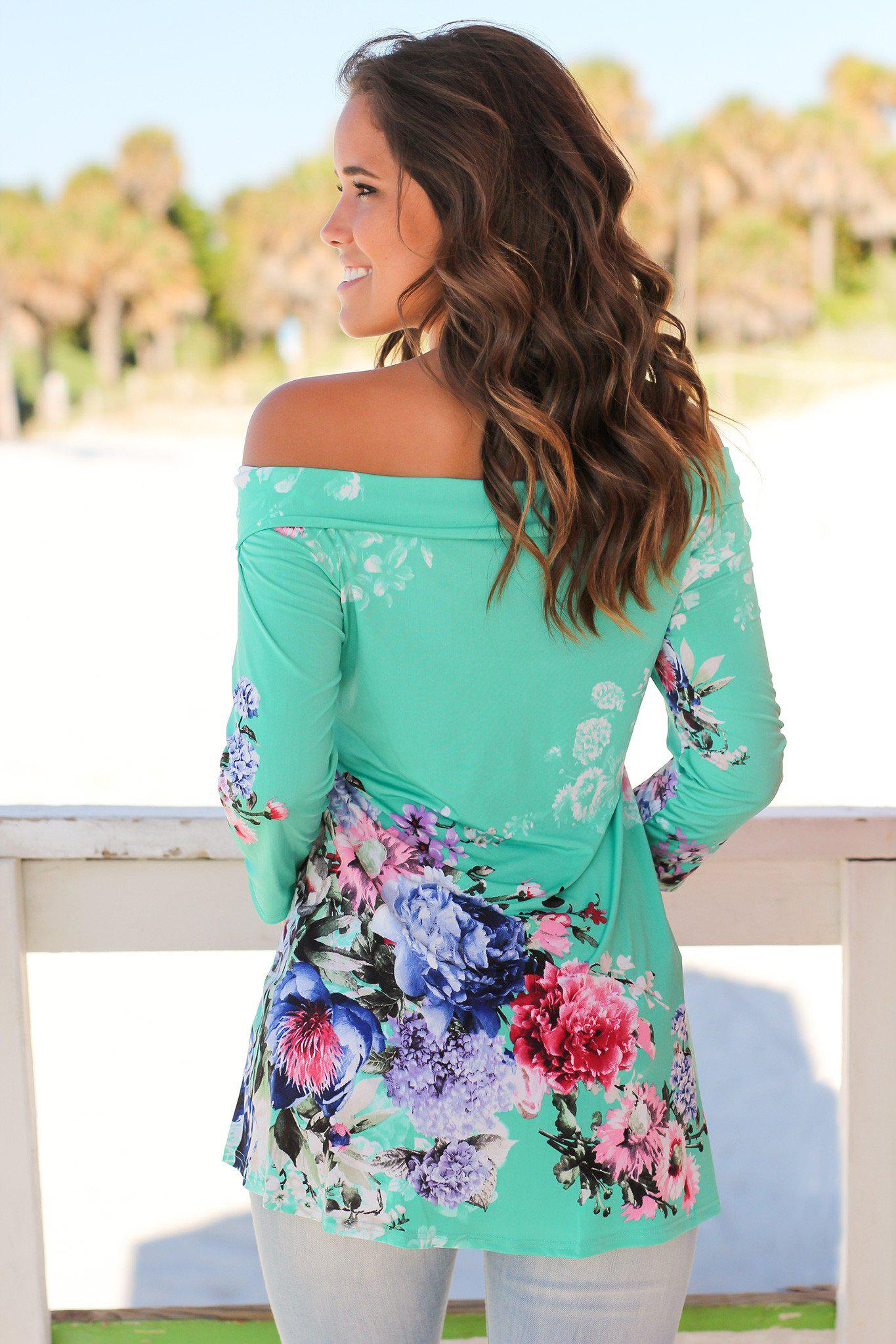 Mint Floral Off Shoulder Top
