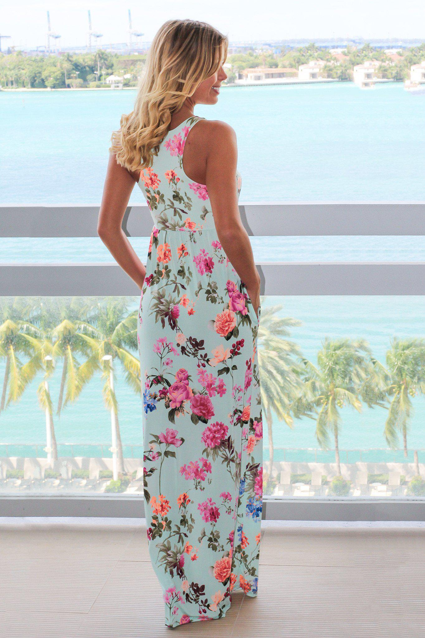 Mint Floral Racerback Maxi Dress