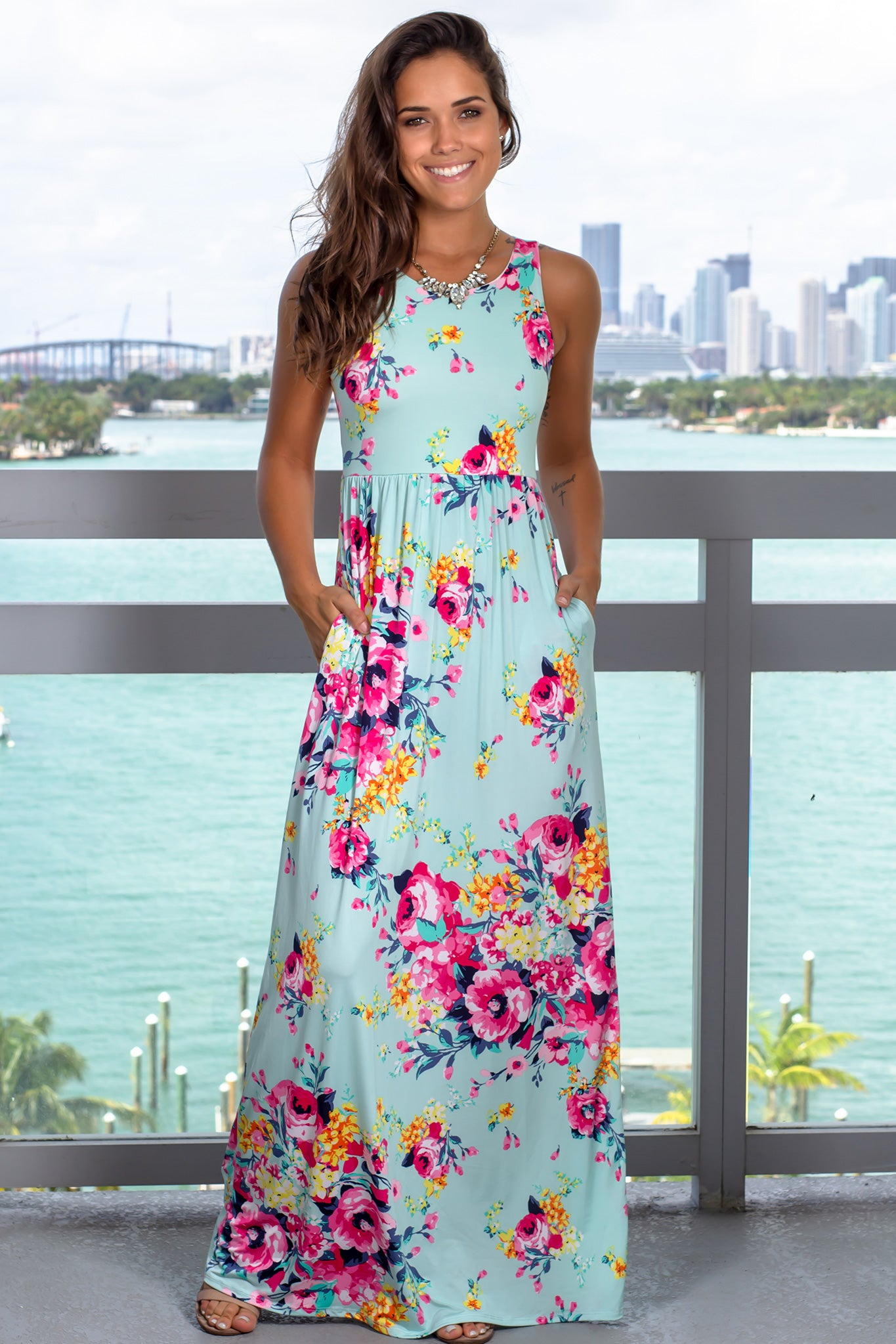 189ae3c03cf Mint Floral Racerback Maxi Dress with Pockets