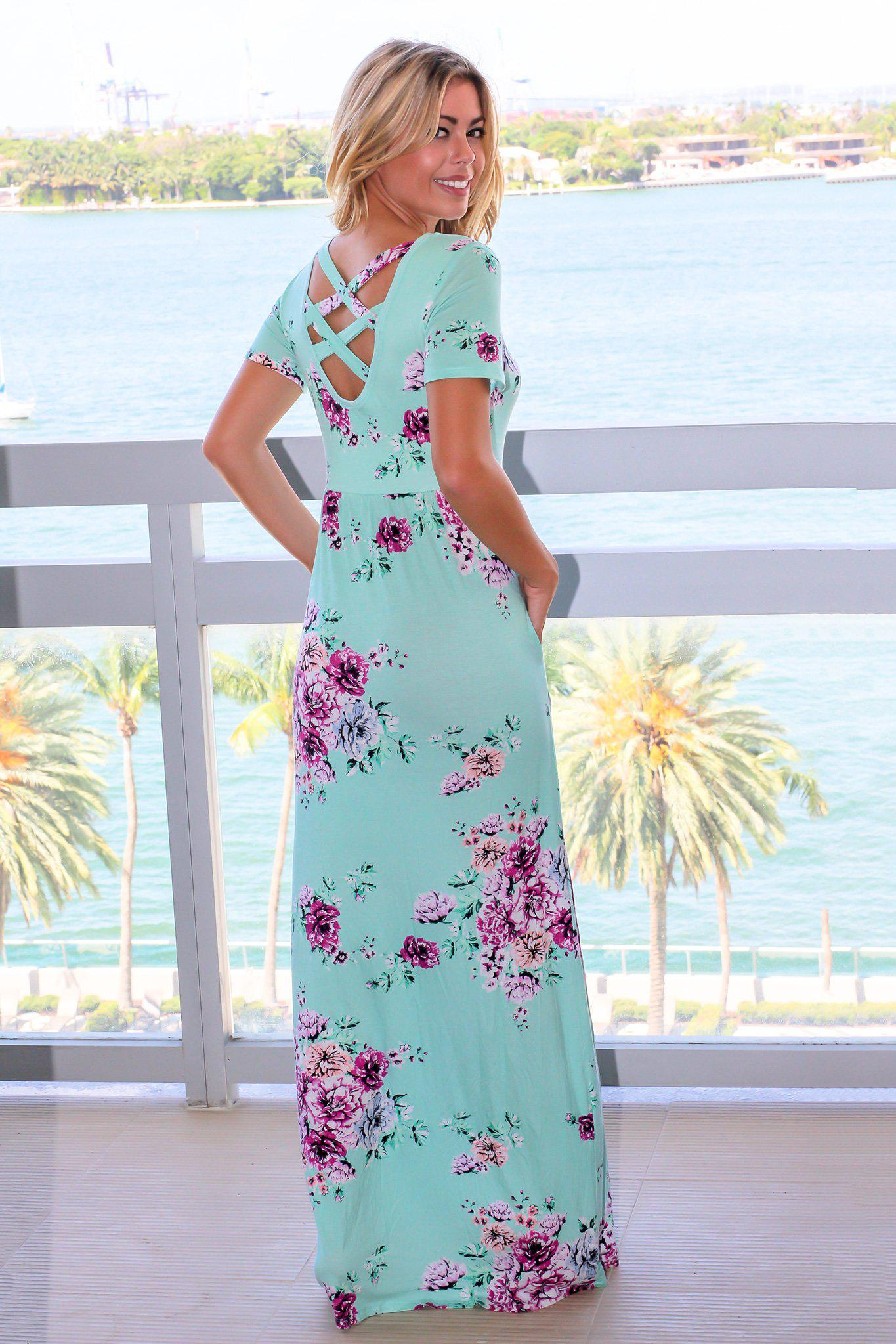 Mint Floral Short Sleeve Maxi Dress with Criss Cross Back