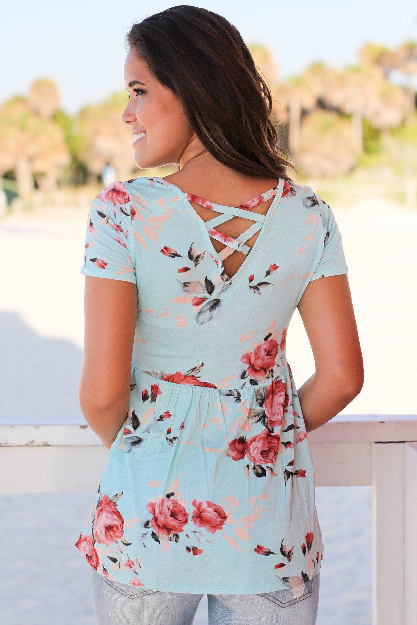 Mint Floral Short Sleeve Top with Criss Cross Back