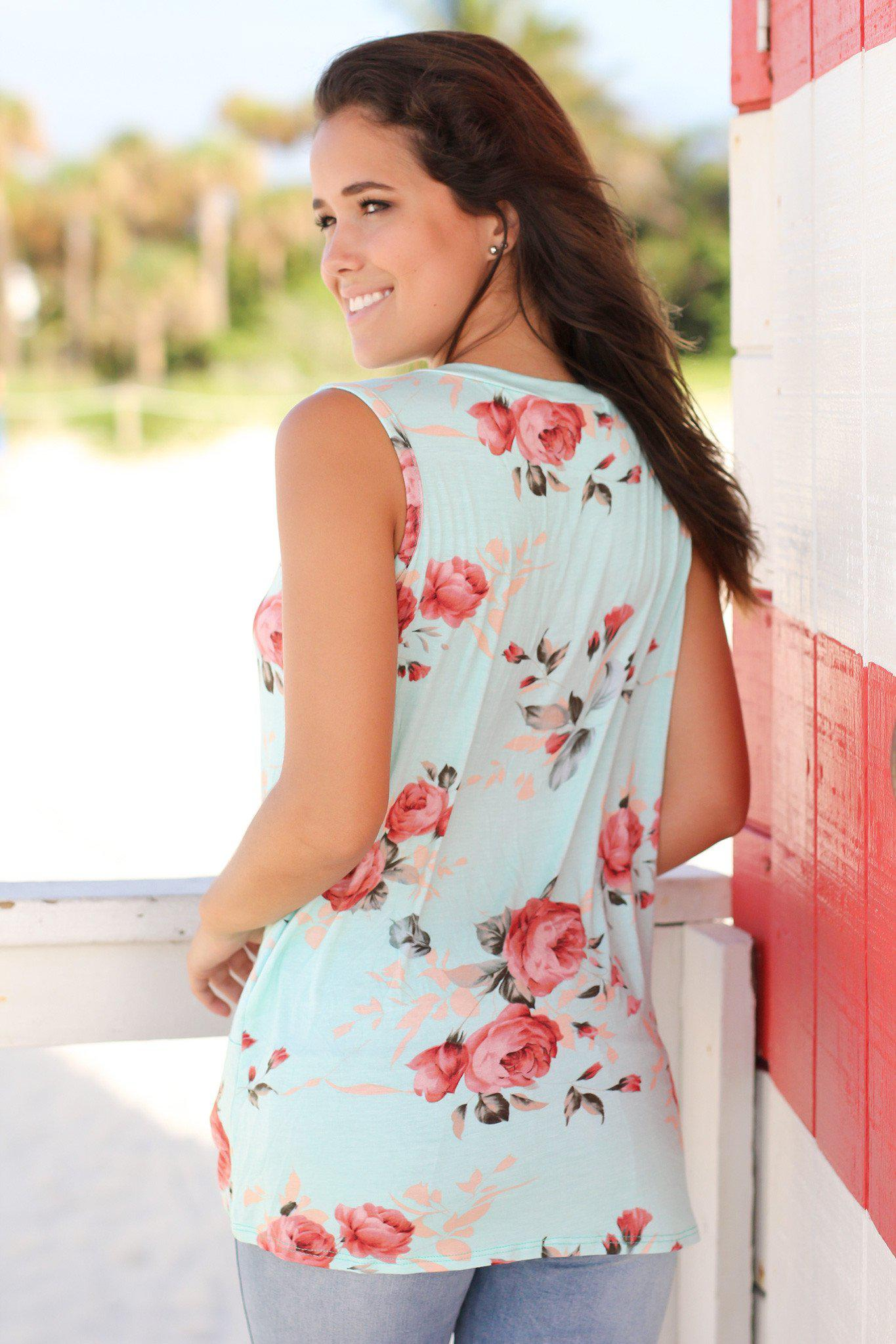 Mint Floral Sleeveless Top with Knot