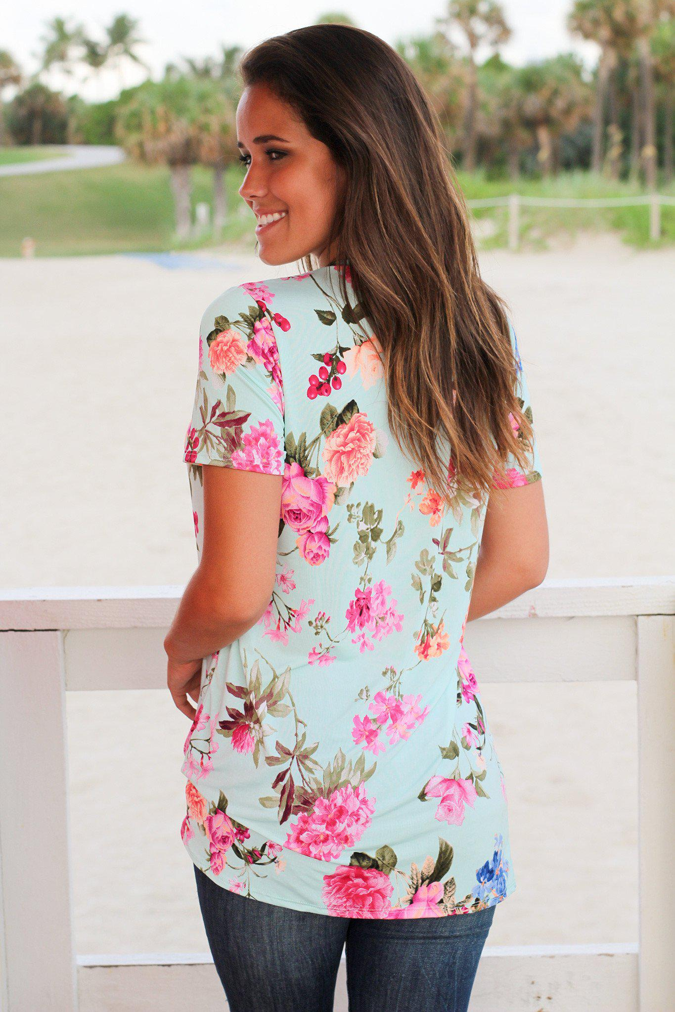 Mint Floral Top with Short Sleeves and Knot