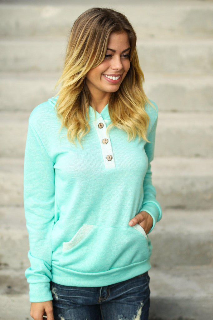 mint front pocket hoodie
