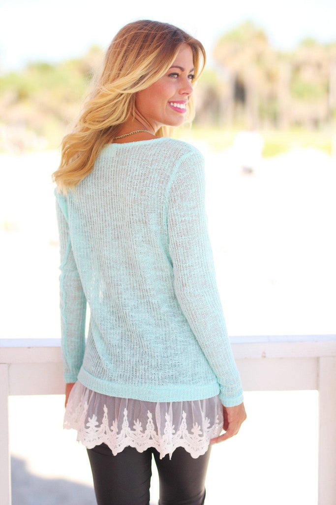 Mint Knit Sweater with Lace Trim