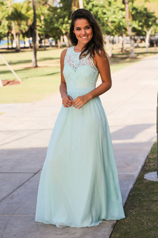 Mint Lace Back Maxi Dress