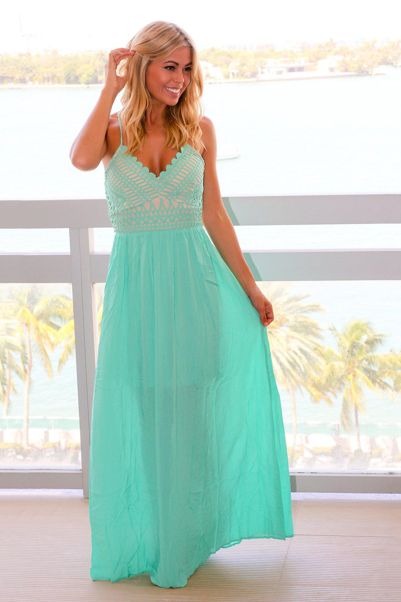 Mint Maxi Dress with Criss Cross Back and Crochet Detail