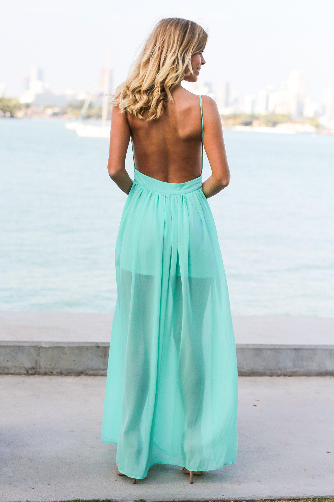Mint Maxi Dress with Open Back and Side Slit