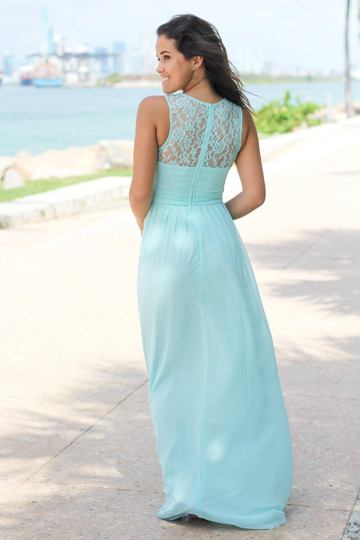 Mint Maxi Dress with Pleated Lace Top