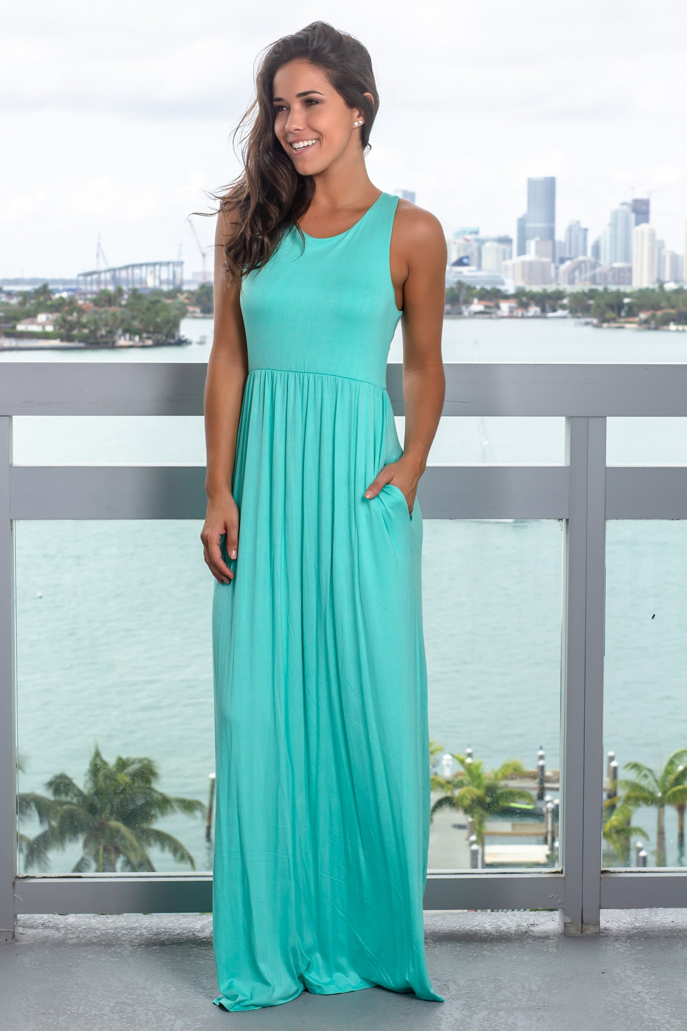 Mint Maxi Dress with Pockets
