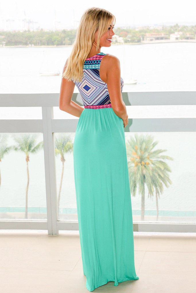Mint Maxi Dress with Printed Top