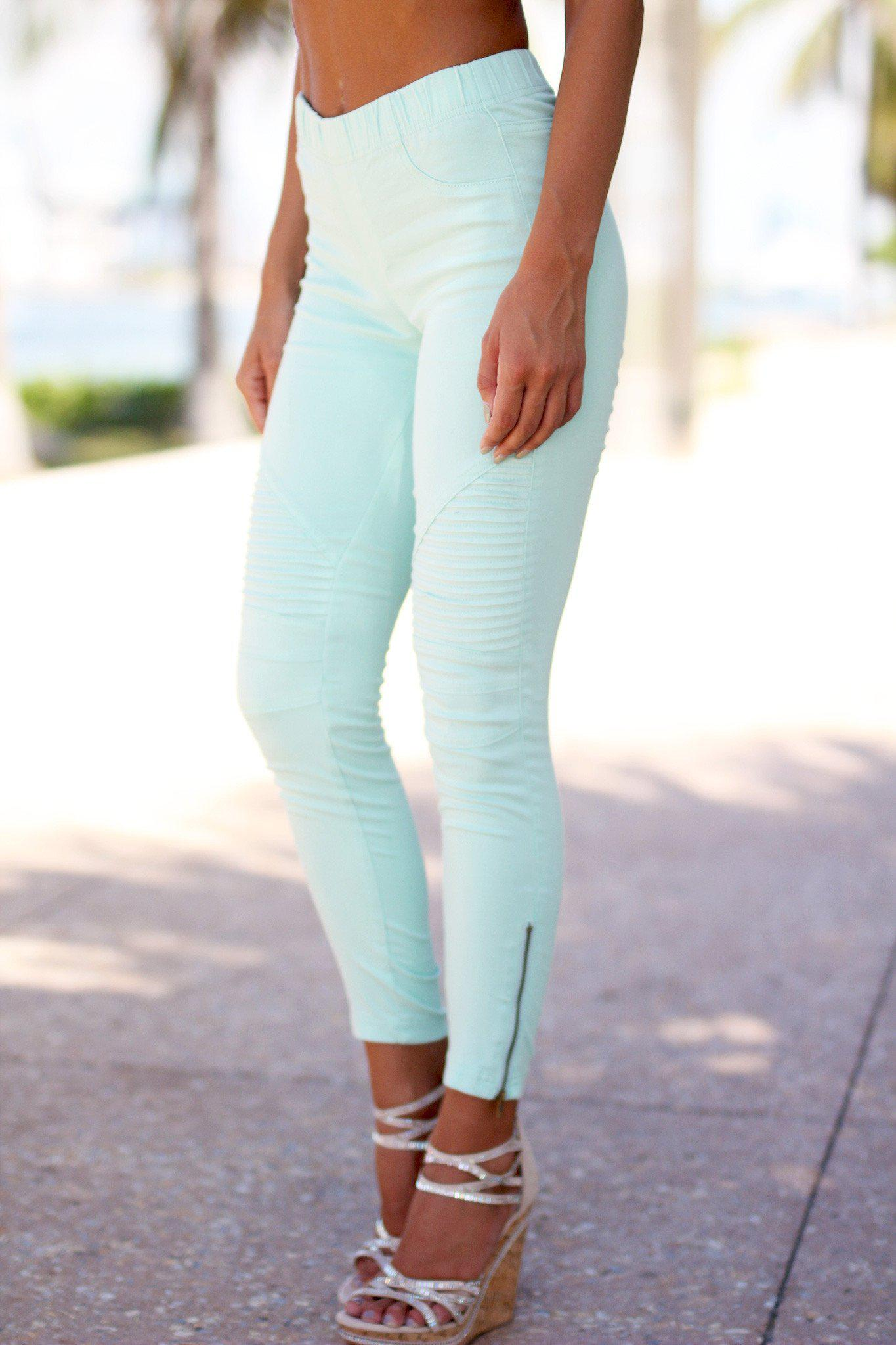 Mint Moto Jeggings with Ankle Zippers