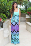 Mint Multi Color Maxi Dress with Racerback