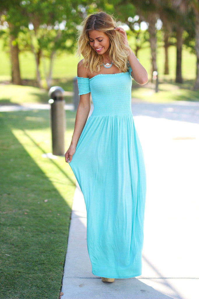 Mint Off Shoulder Maxi Dress