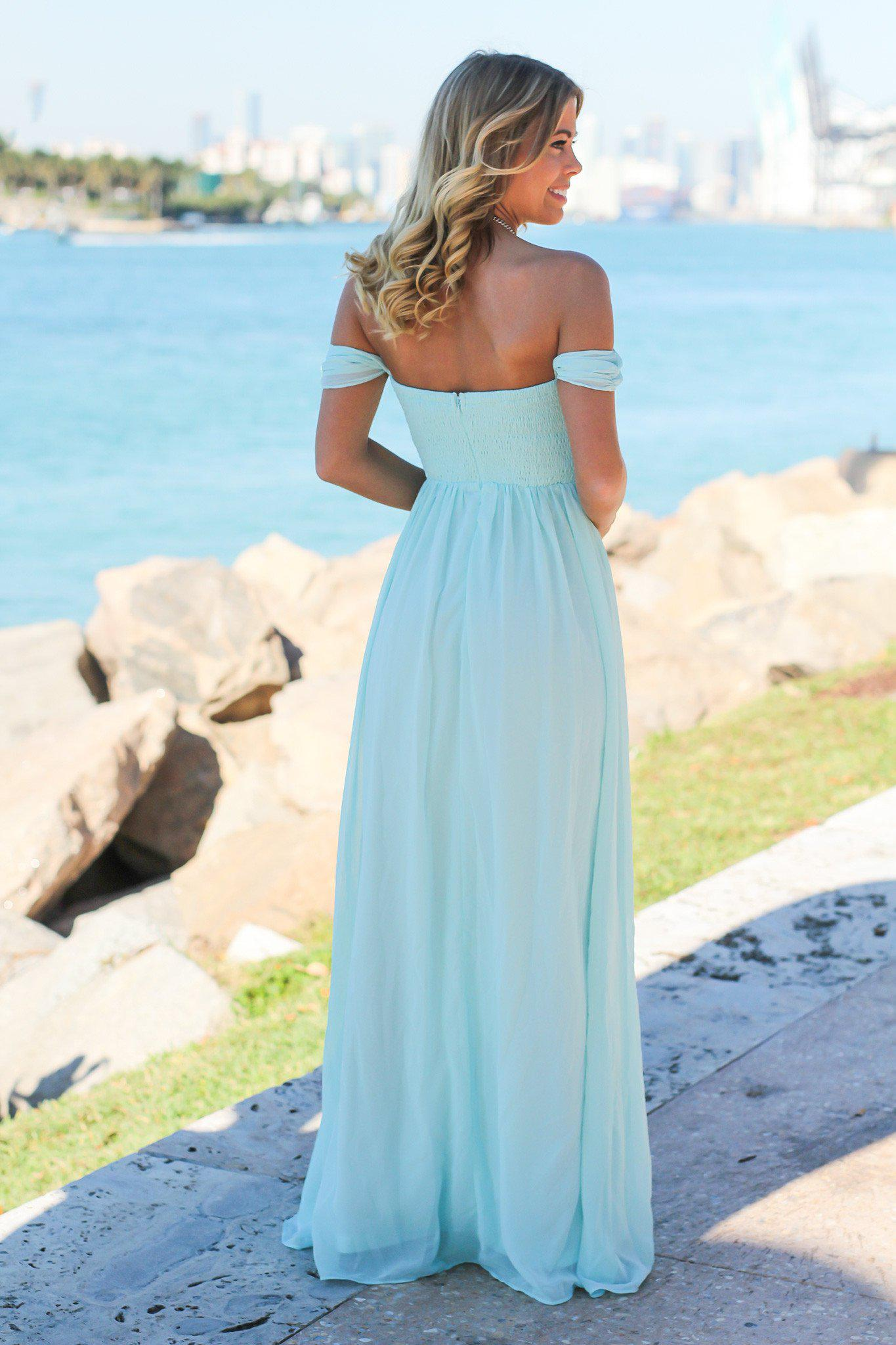 Mint Off Shoulder Maxi Dress with Pleated Top