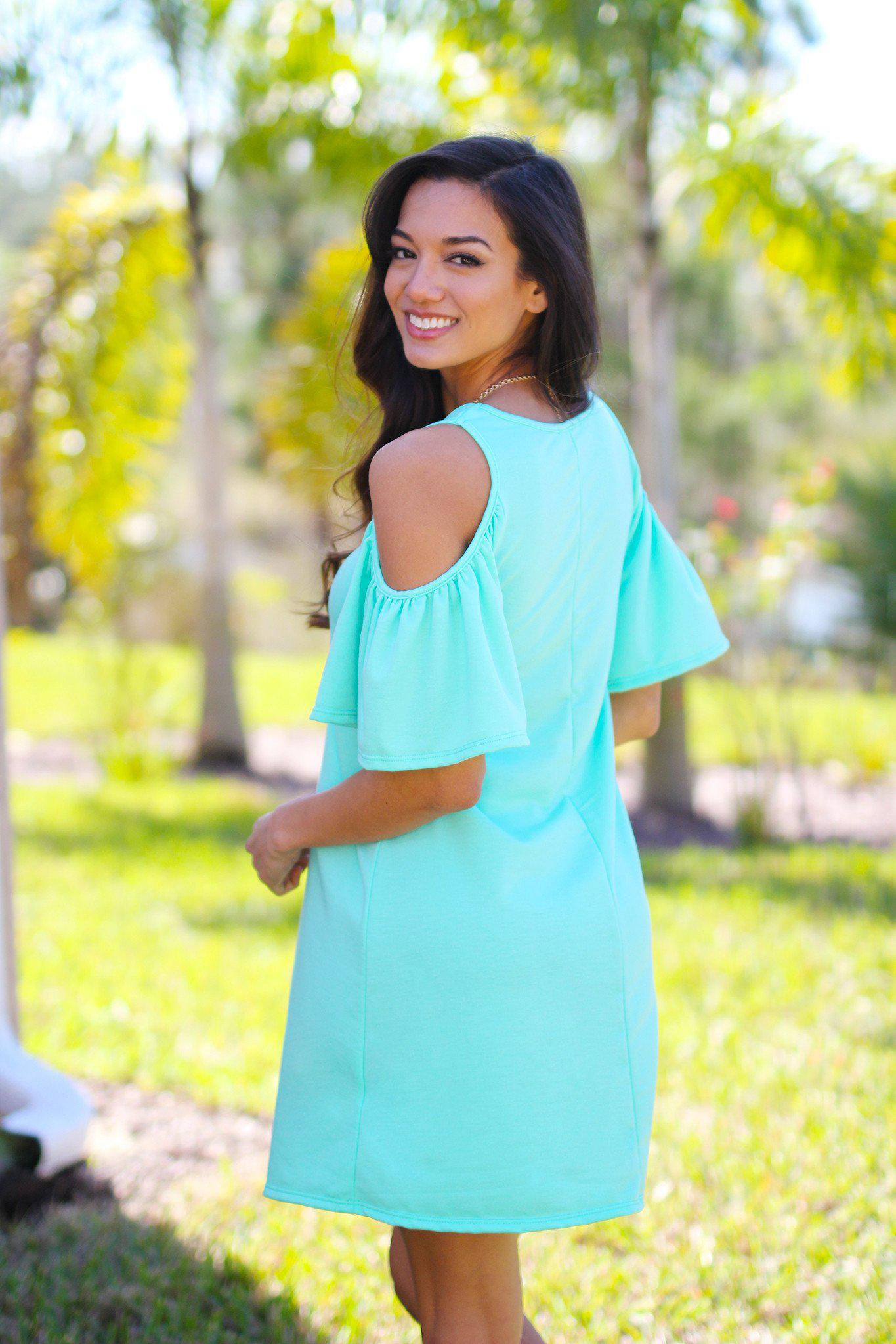 Mint Open Shoulder Ruffle Sleeves Tunic