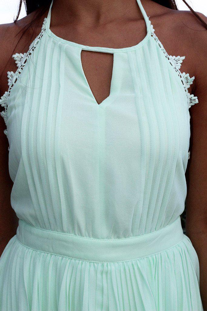 Mint Pleated Dress with Open Back