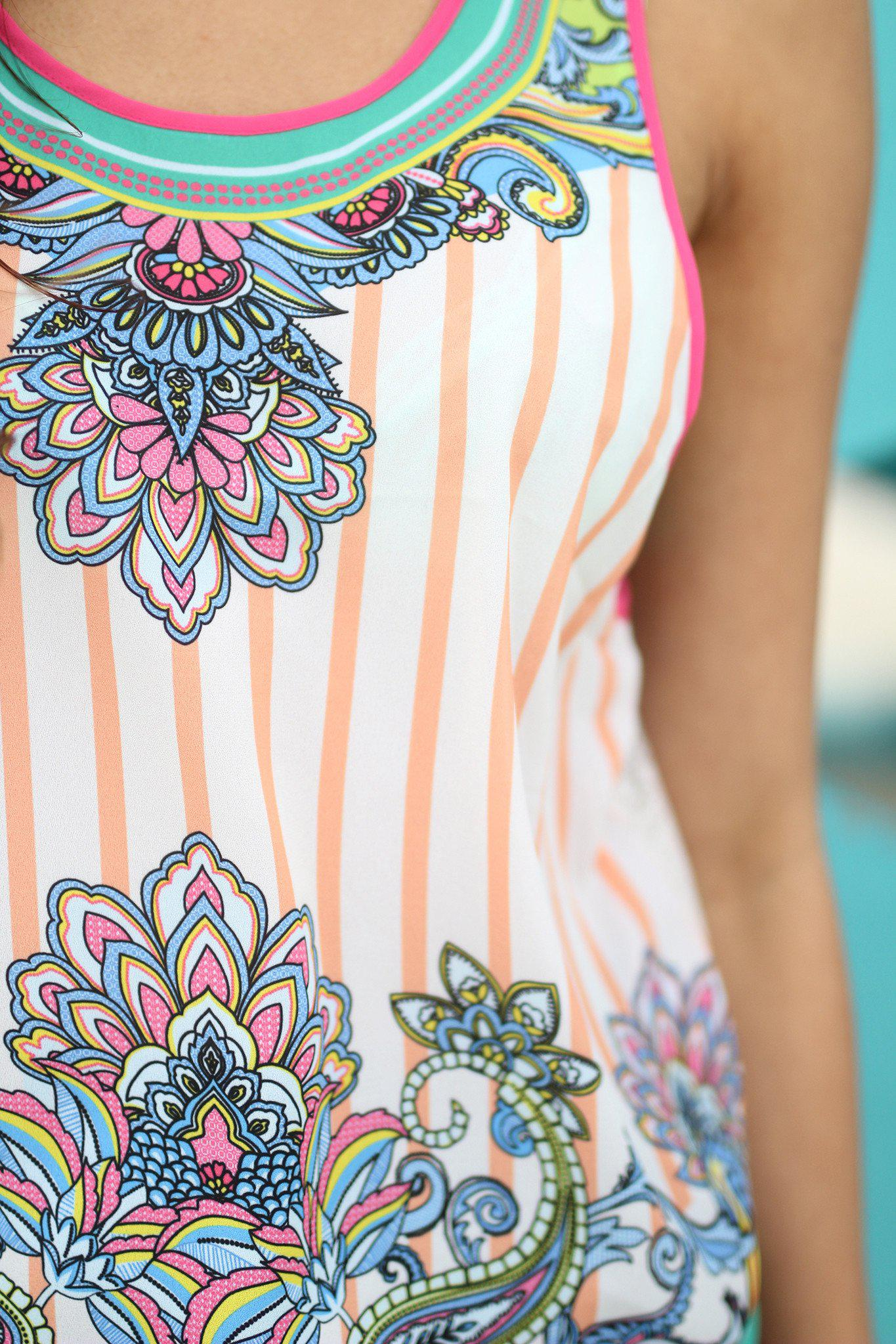 Multi Color Printed Top with Lace Back