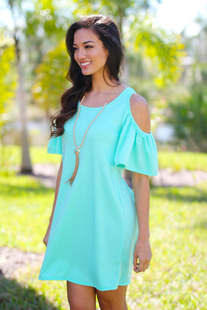 mint open shoulder tunic