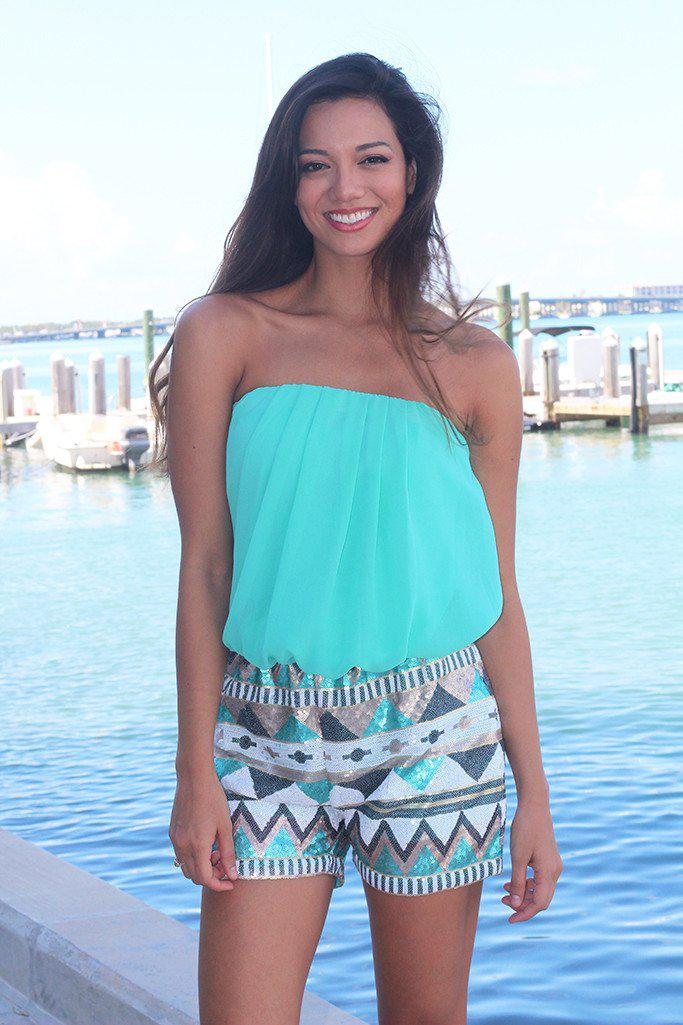 Mint Romper With Sequin Bottom