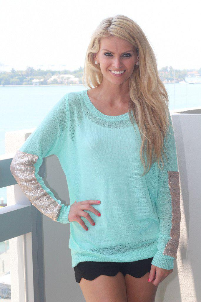 Mint Sheer Top With Sequins
