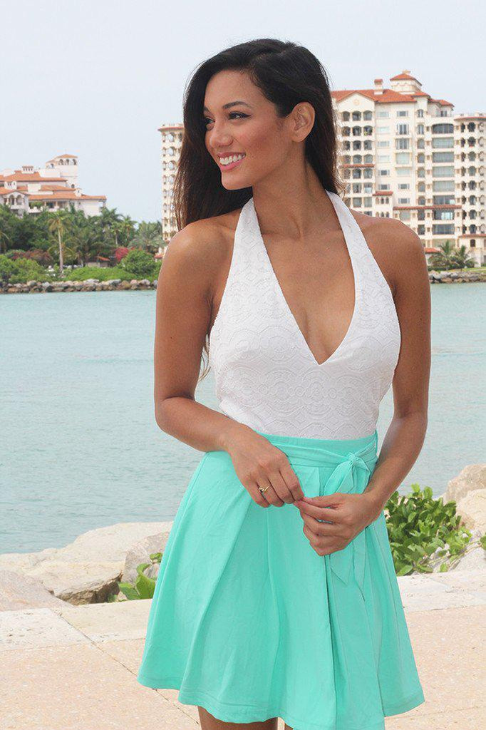 Mint Short Dress With Open Back