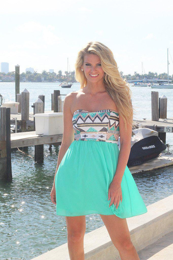 Mint Short Dress With Sequin Top
