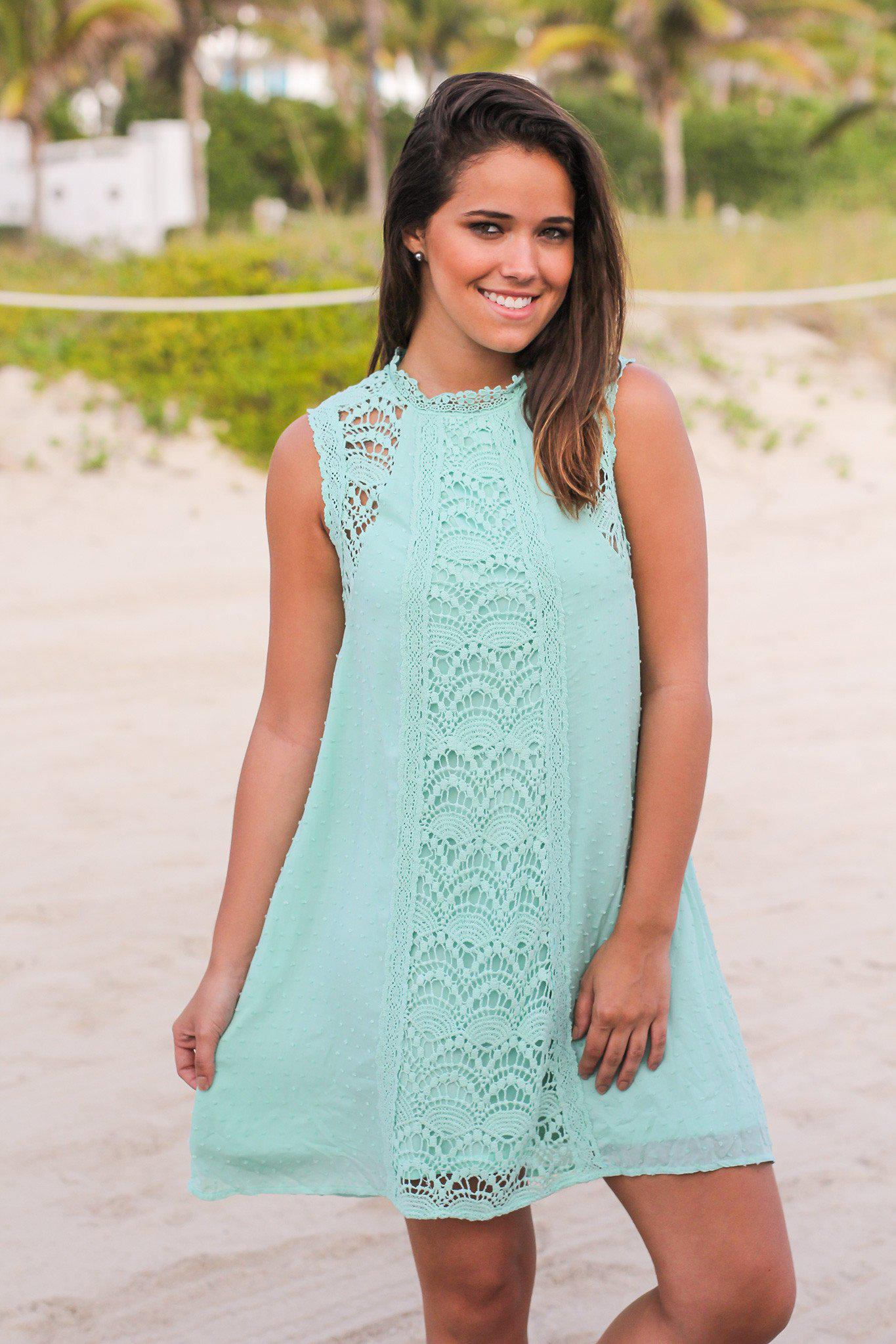 Mint Short Dress with Crochet Detail