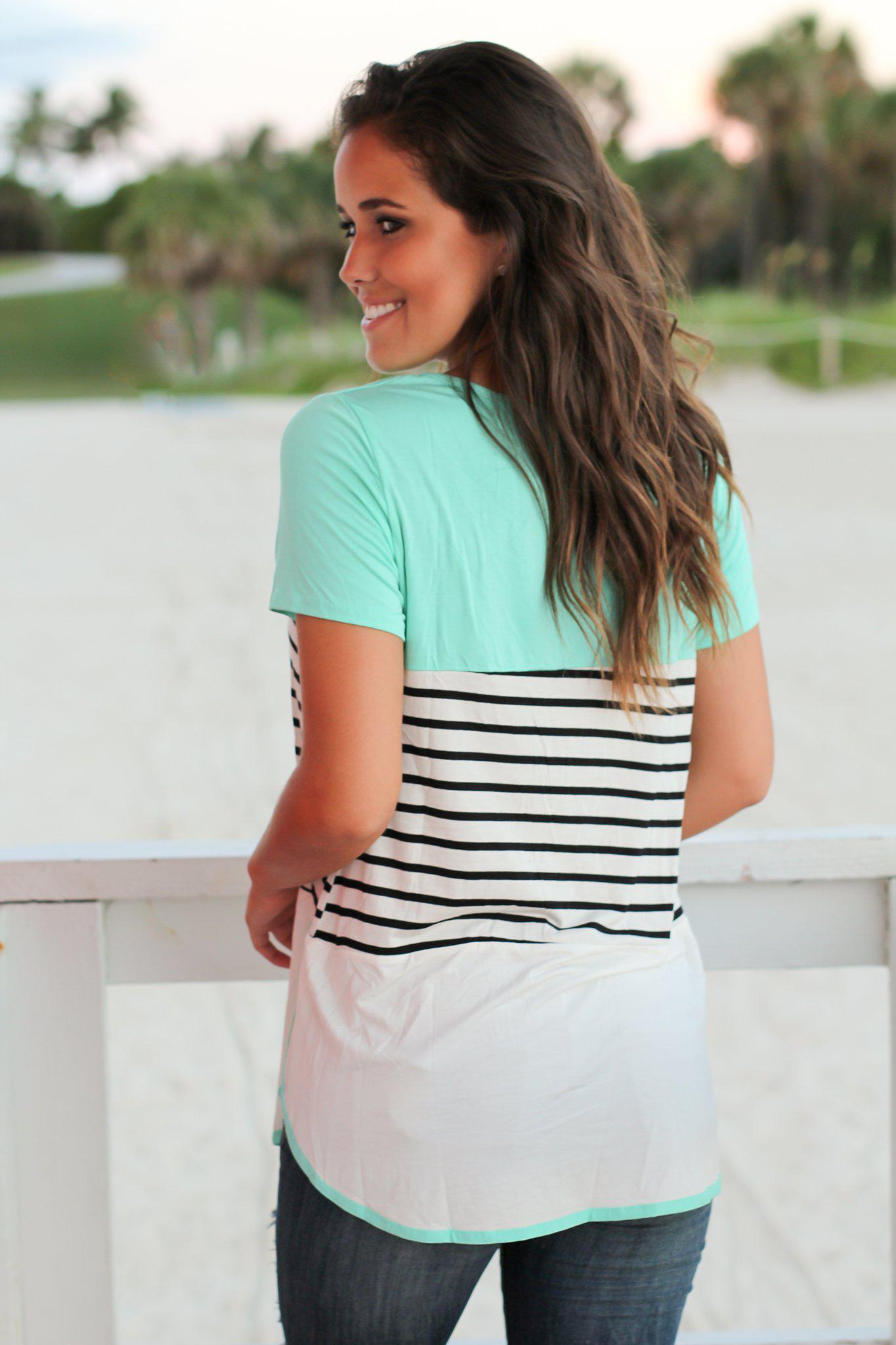 Mint Short Sleeve Color Block Top