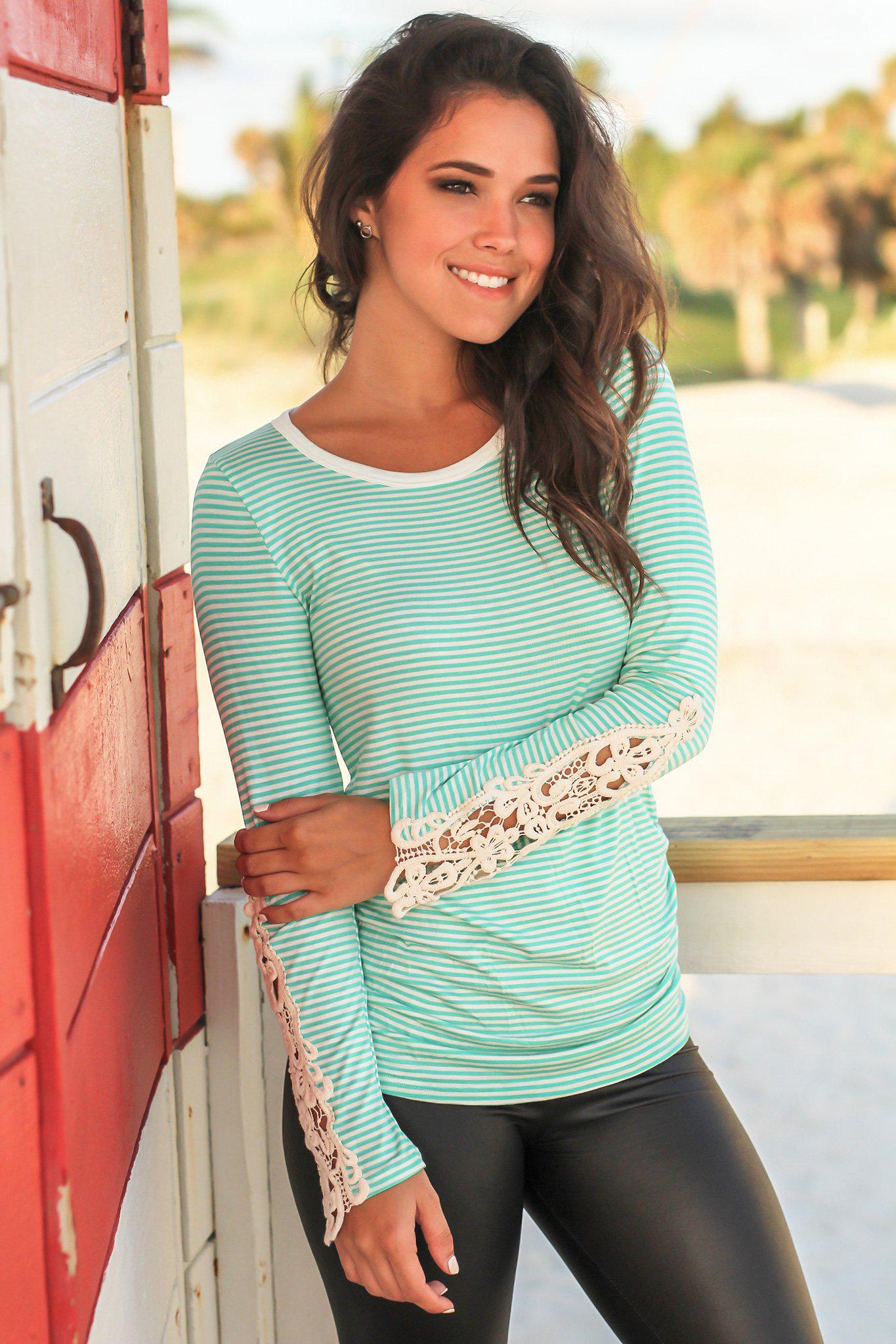 Mint Striped Long Sleeve Top with Crochet Sleeves