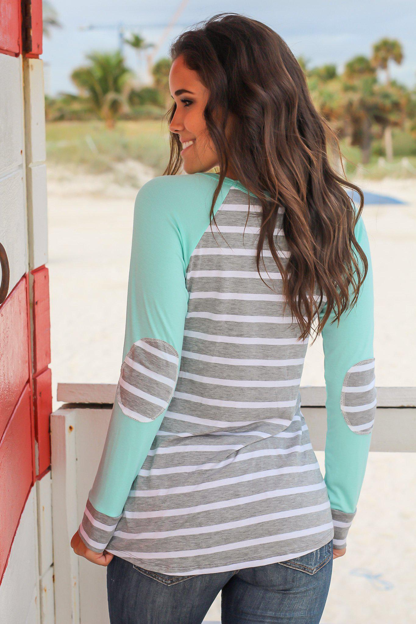 Mint Striped Top with Elbow Patches