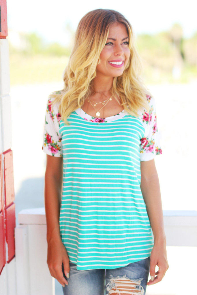 striped mint top with floral sleeves