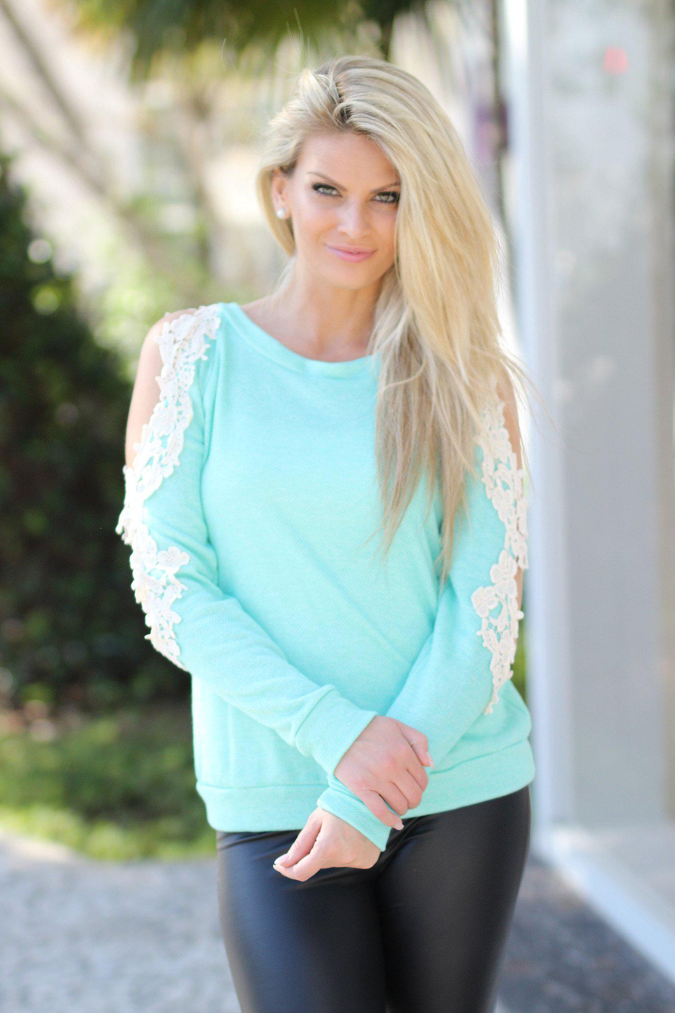 Mint Sweater with Crochet Sleeves