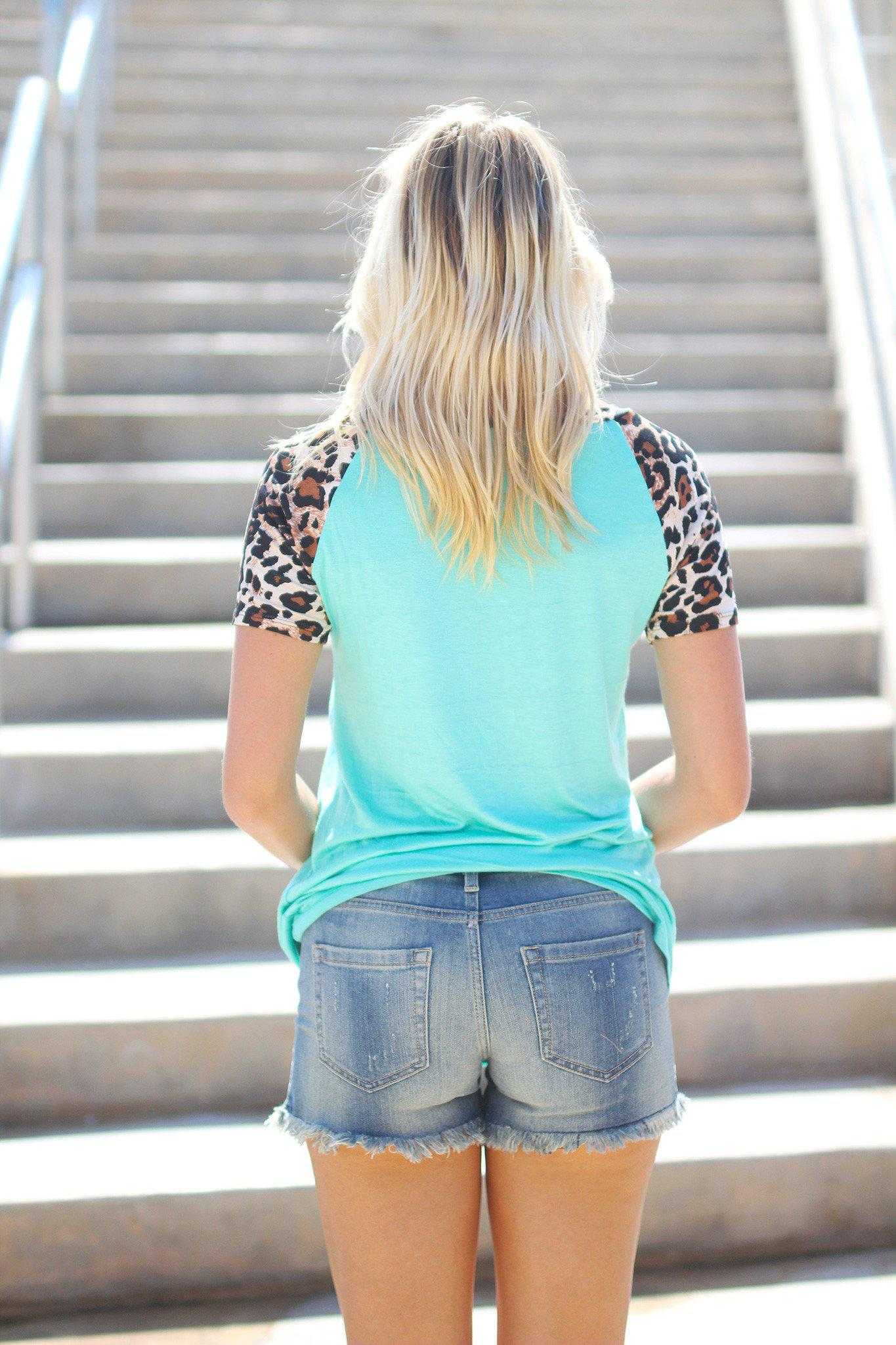 Mint Top with Leopard Sleeves