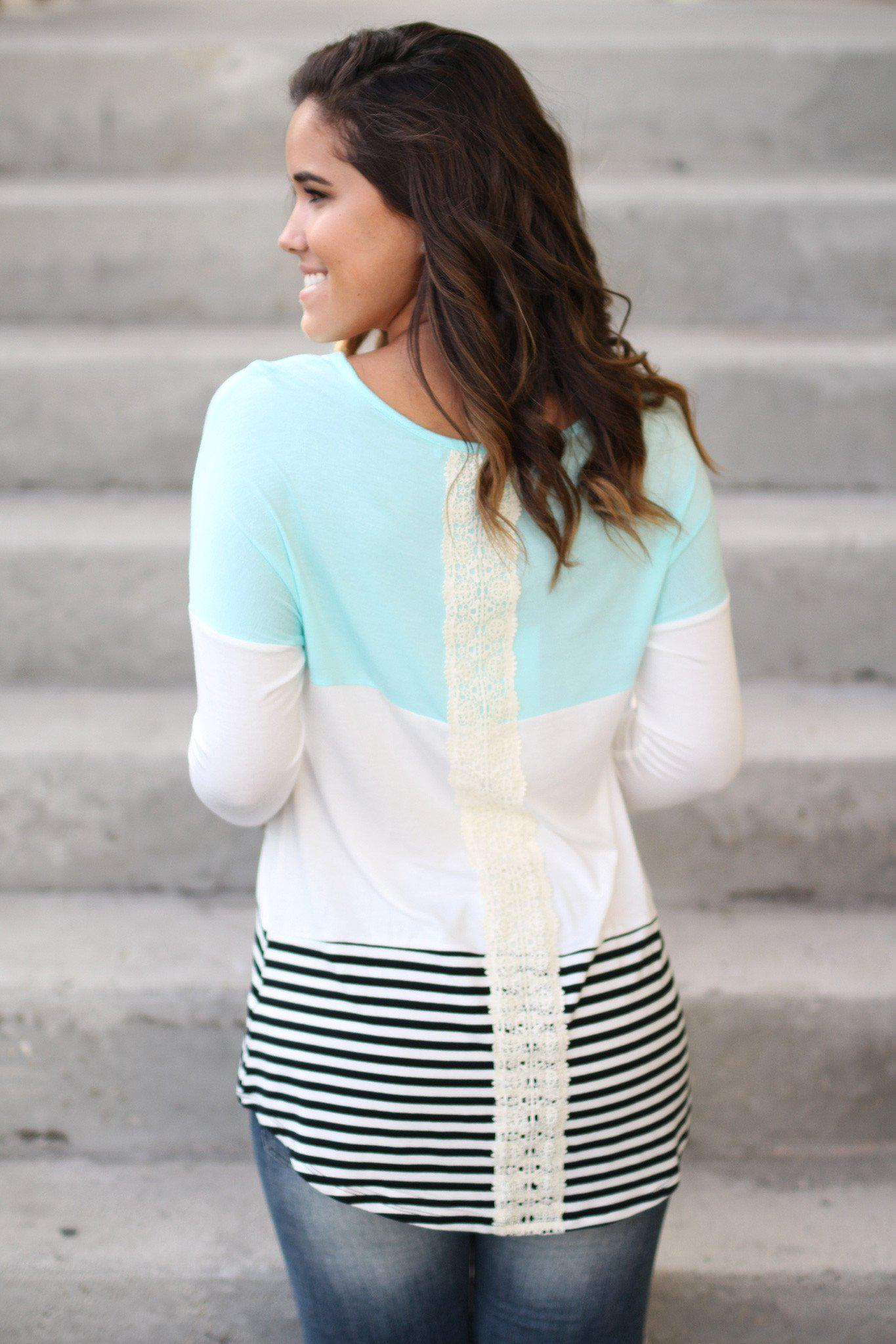 multi color top with crochet detail