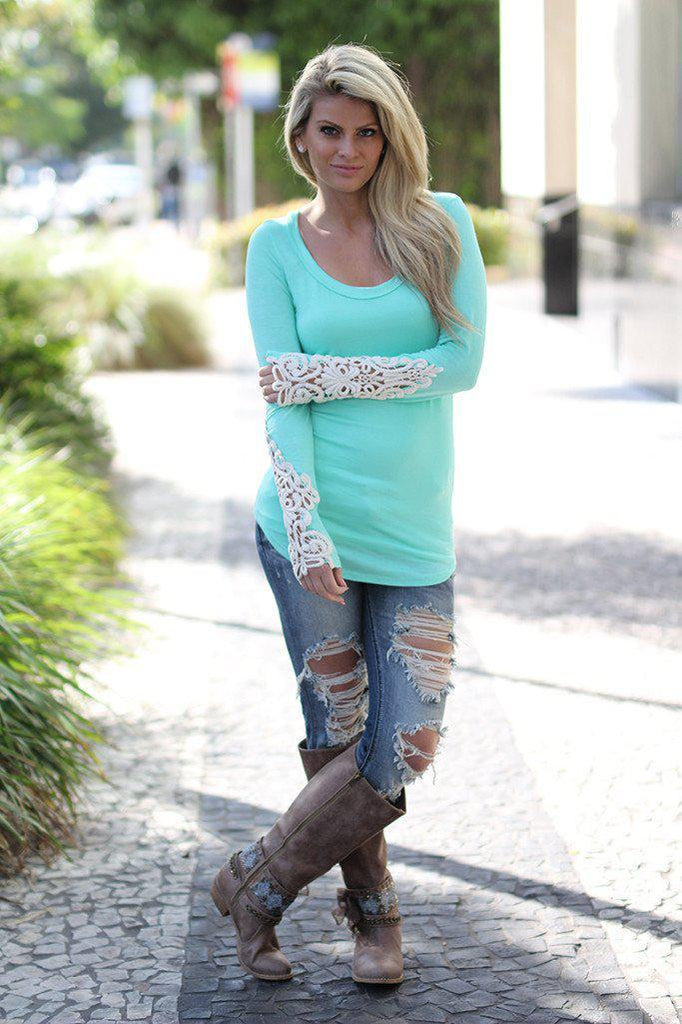mint scoop neck top