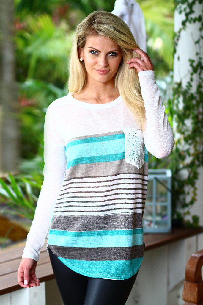 Mint Top With Crochet Pocket
