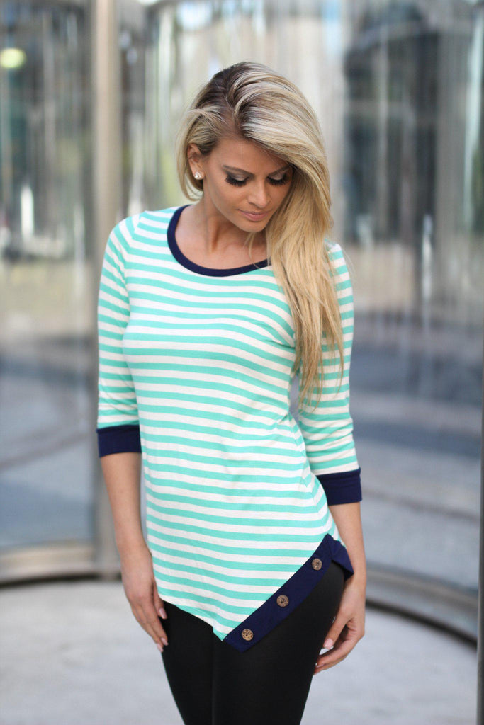 Mint Striped Top With Buttons