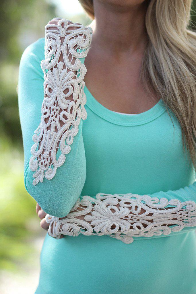 Mint Top With Crochet Sleeves