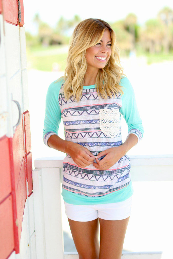 Mint Printed Top with Pocket