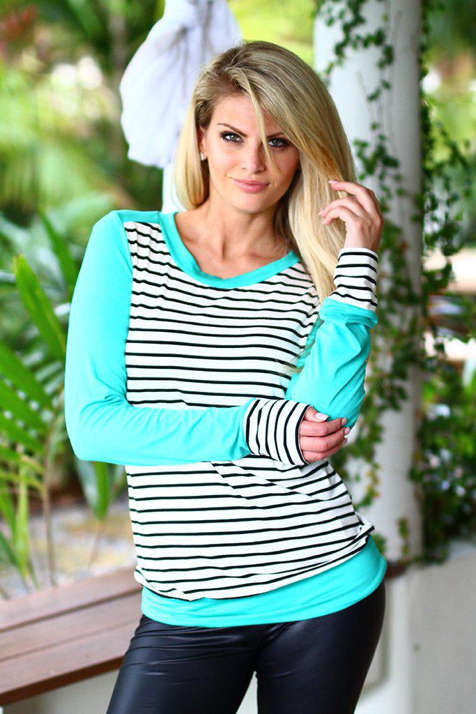 Mint Top With Stripes