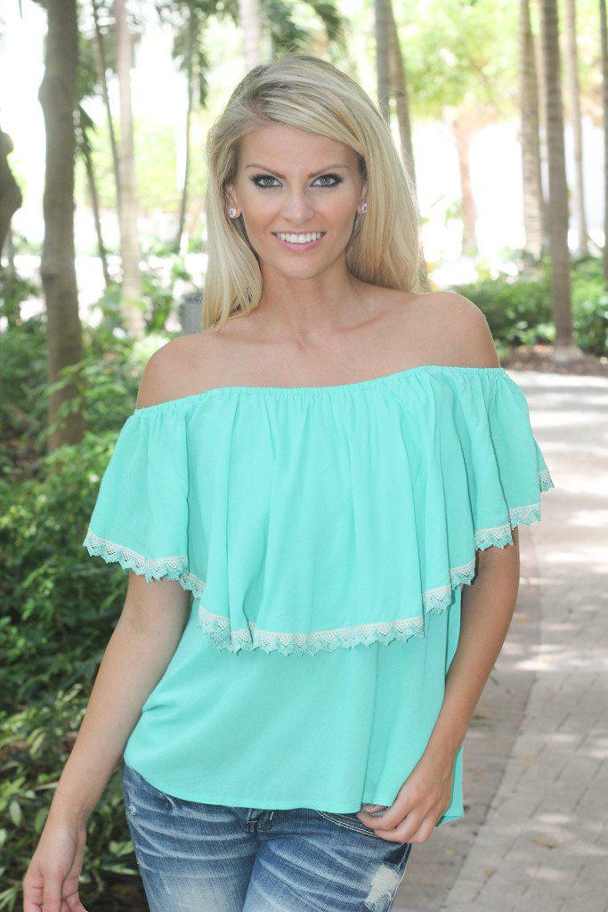 Mint Top With Crochet Trim