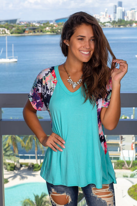 Mint Top with Floral Sleeves