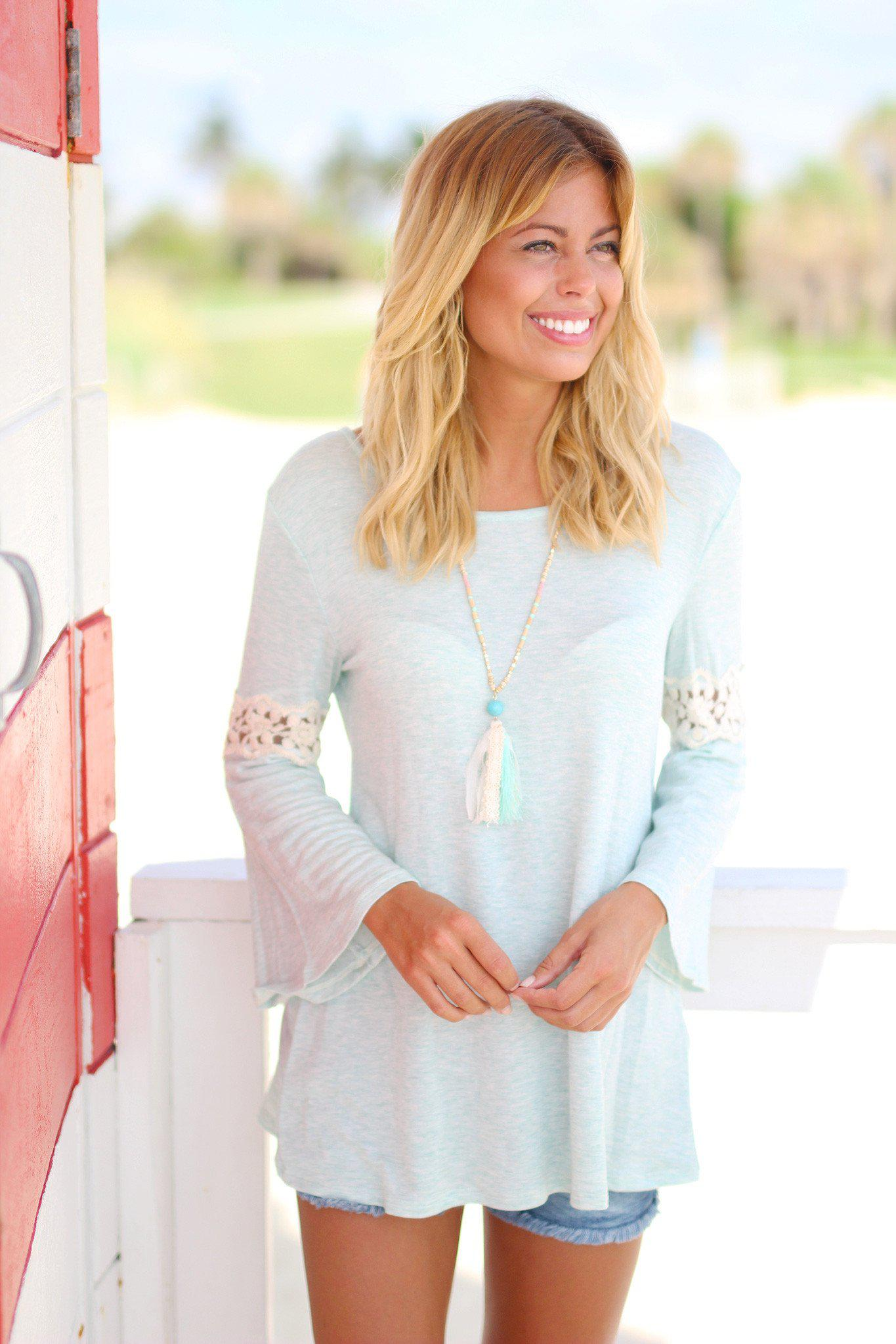 Mint Top with Lace Bell Sleeves