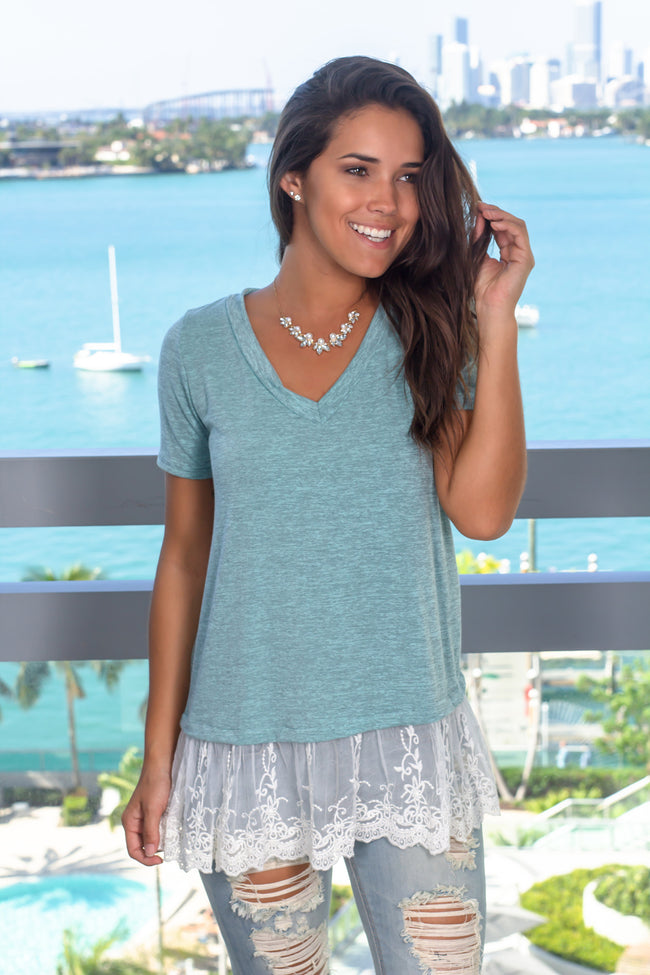 Mint Top with Lace Detail