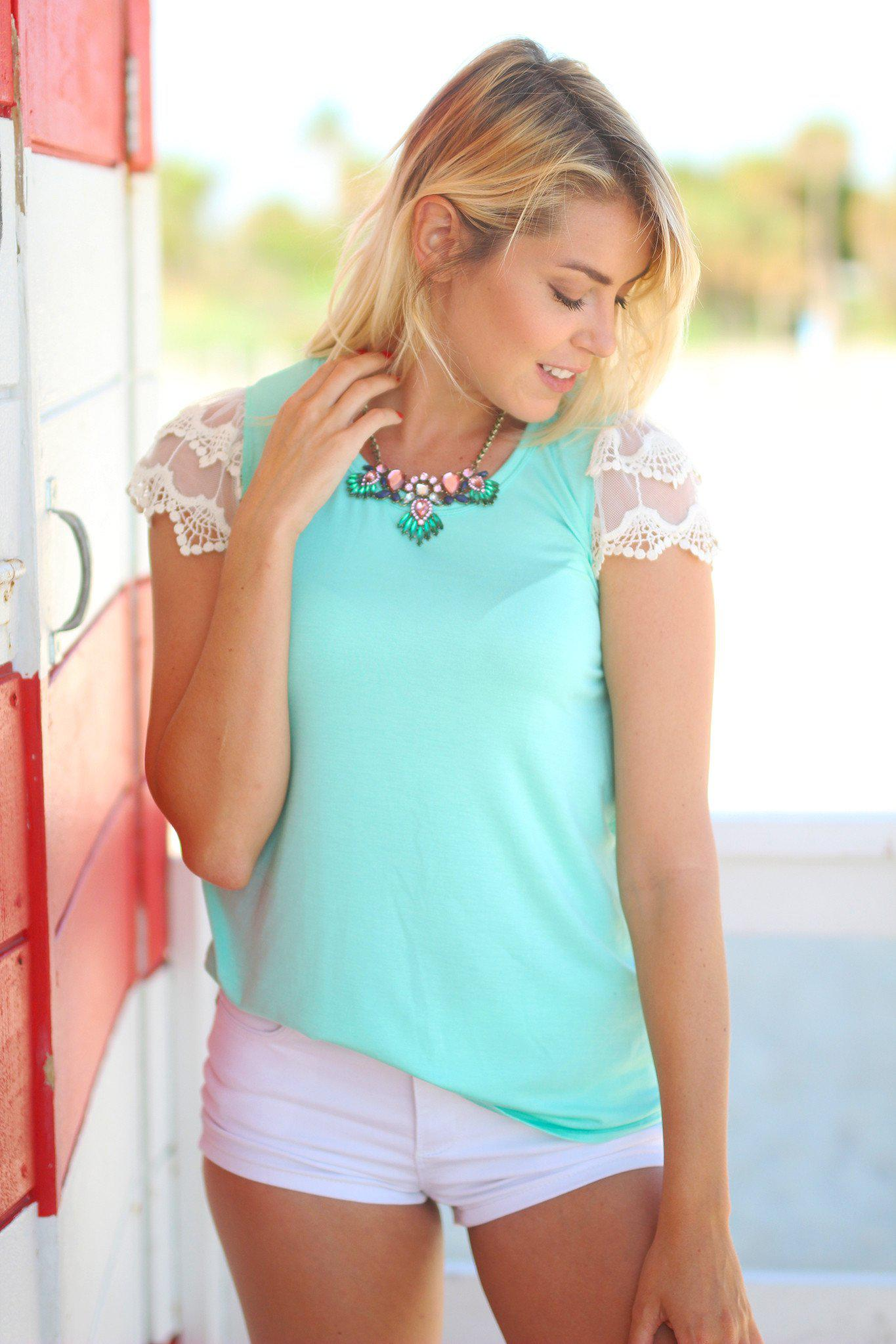 Mint Top with Lace Short Sleeves