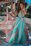 Mint Tulle Rainbow Maxi Dress