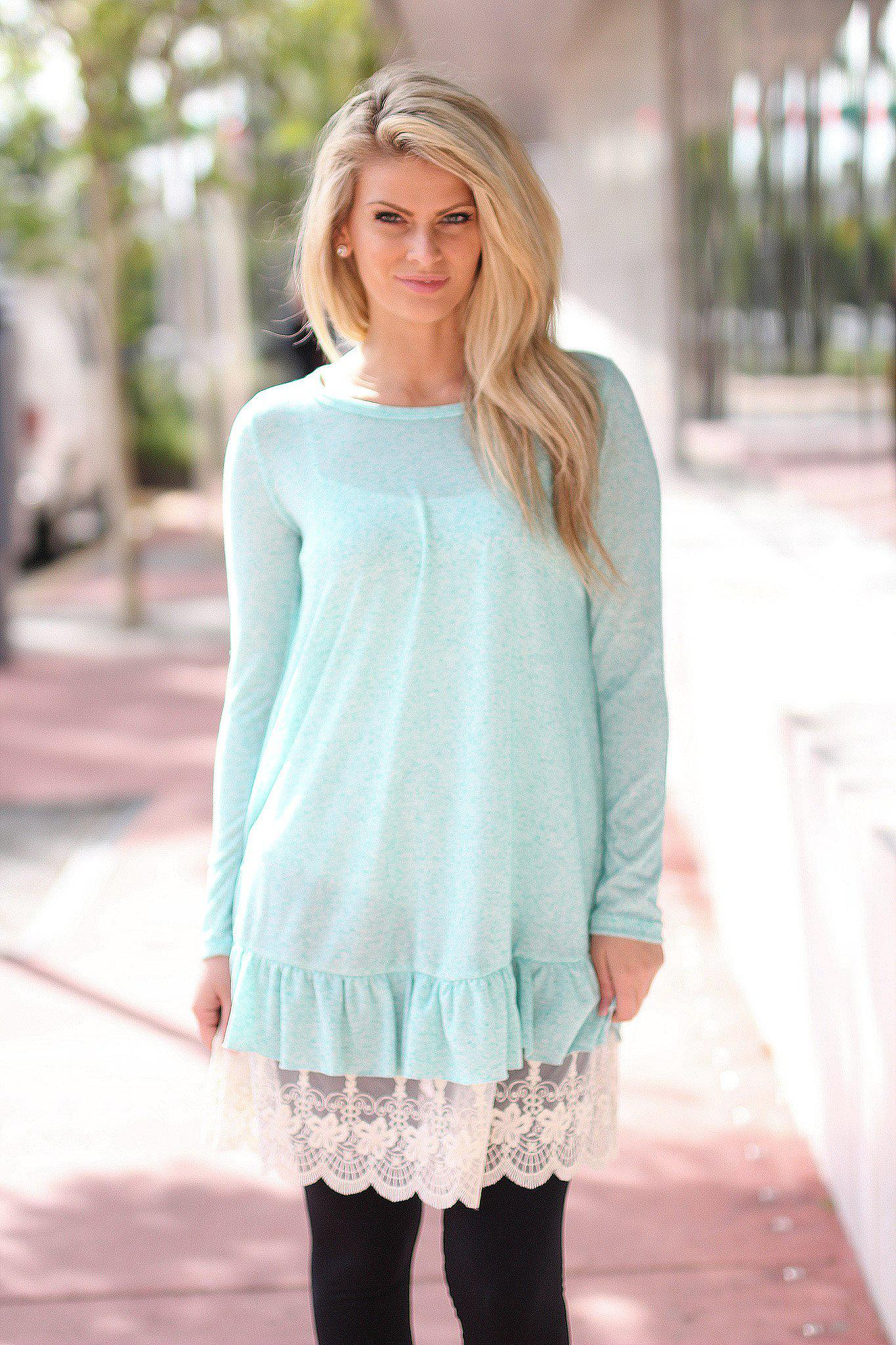 Mint Tunic with Lace Detail