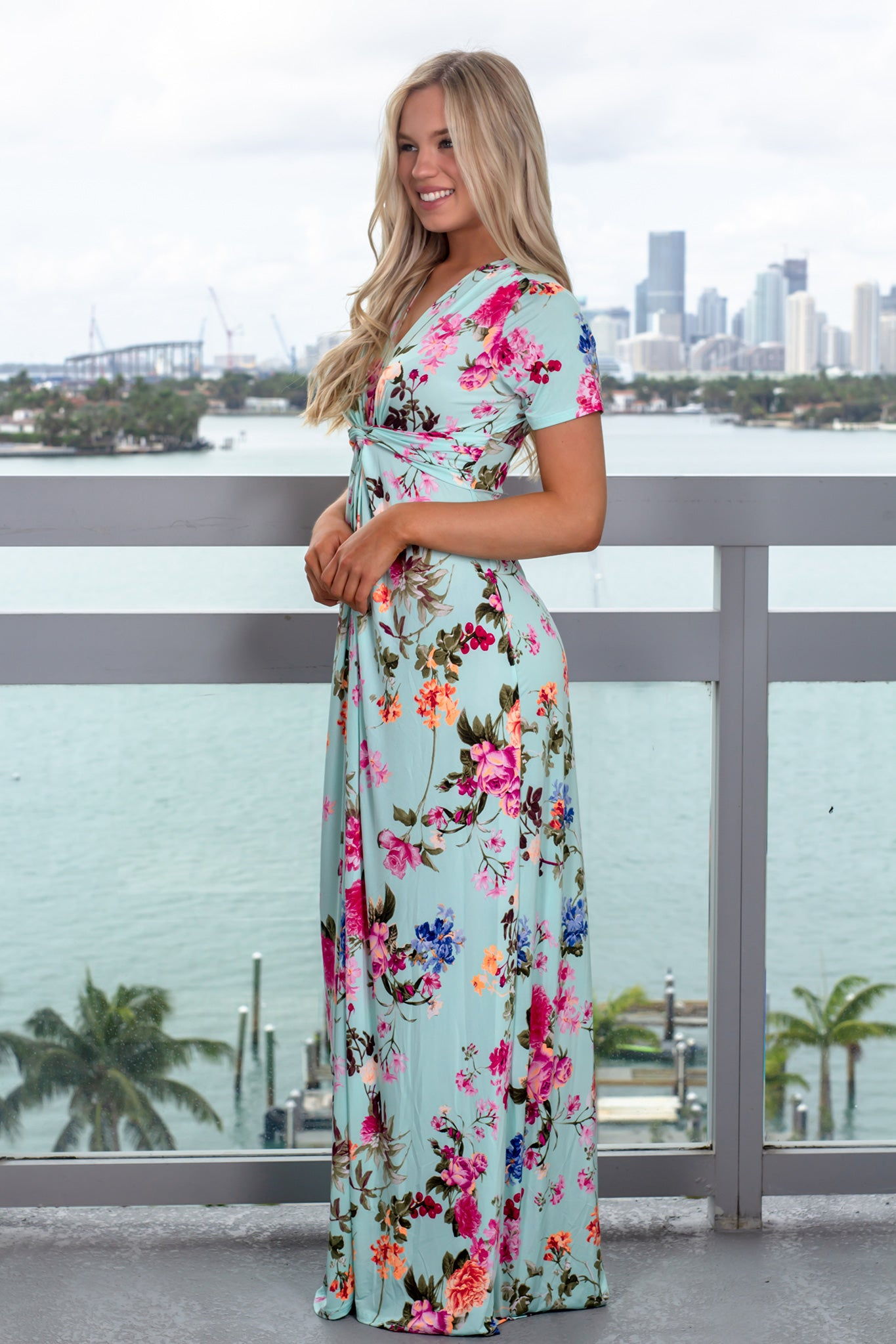 Mint V-Neck Floral Maxi Dress